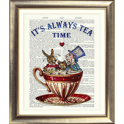 ART PRINT ANTIQUE DICTIONARY BOOK PAGE Mad Hatter Tea Party Alice In Wonderland