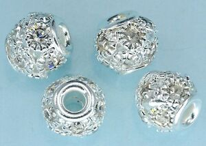 11mm-Cristales-Pedreria-Plateado-Dije-Pulsera-Cuentas-x-10
