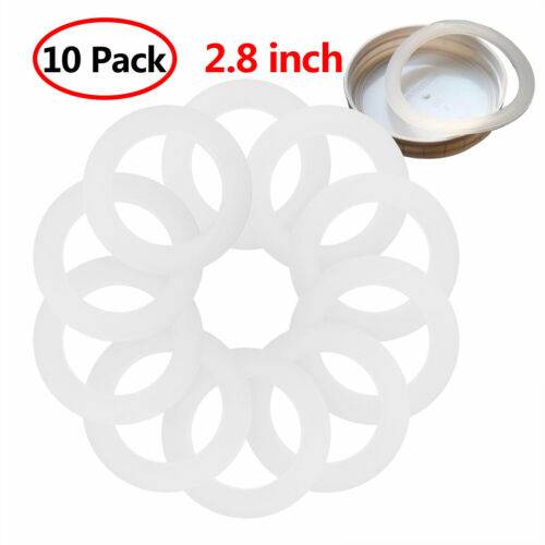 10 Silicone Gaskets Airtight Leak-proof Rubber Seals Rings for Regular Mouth Jar