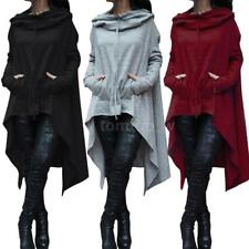 Women Hoodie Dress Long Hooded Tops Sweatshirt Sweater Asymmetric Coat Plus Size