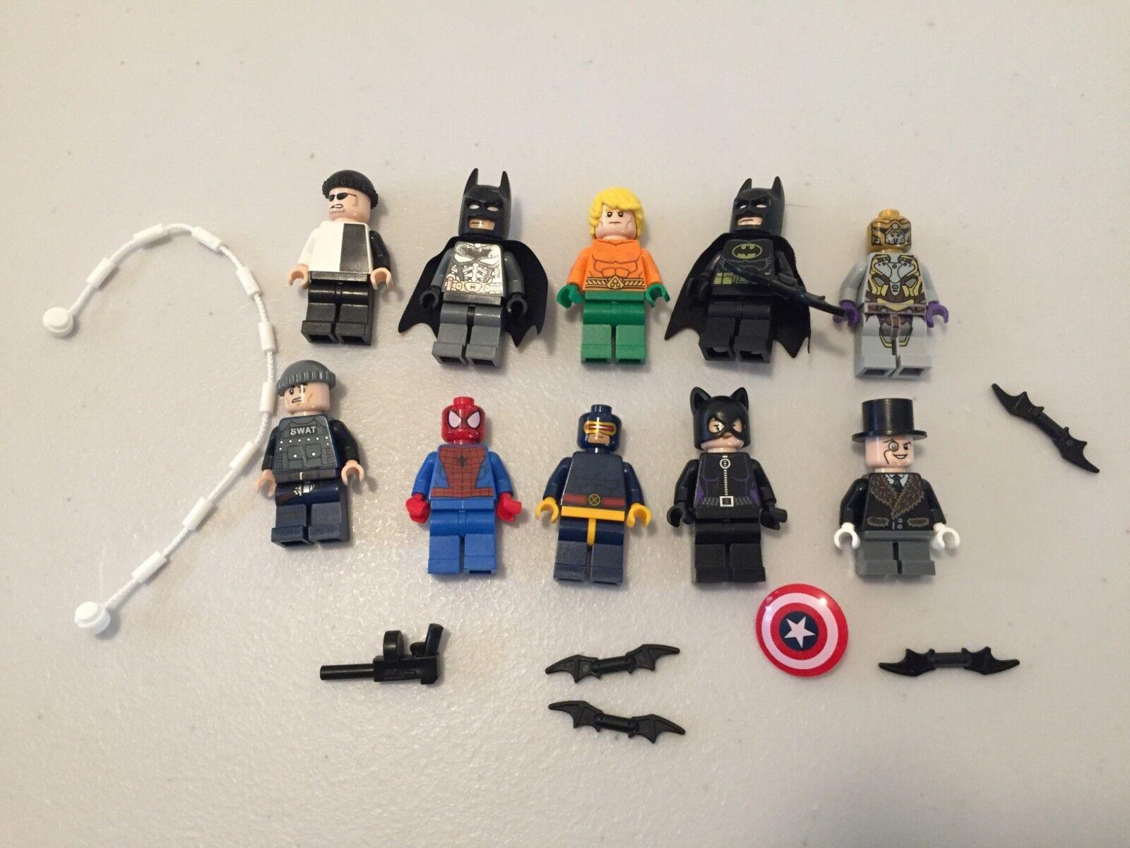LEGO Super Heroes DC MINIFIG LOT - 10 MINIFIGS Batman Penguin Spiderman L494B