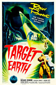 Target Earth 1954 A1 Vintage Movie Poster High Quality Canvas Art Print