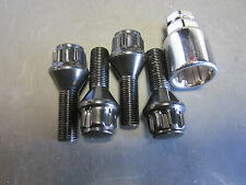 FIAT WHEEL LOCKS, BLACK 12X1.25, 124 SPIDER, 131, X1/9, 500, SET OF 4