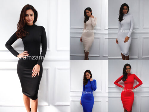 New womens ladies glam polo neck long sleeve knee length bodycon cocktail  dress