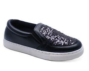 Ladies Black Sequin Flat Slip On Plimsolls Skater Pumps Trainers Shoes Size 3-8