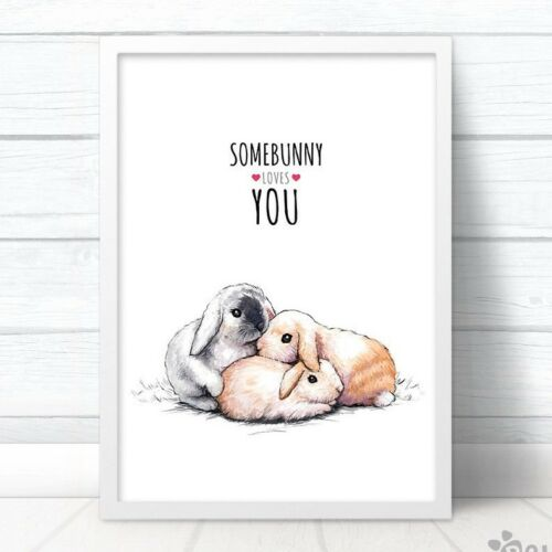 Bunny Rabbit Anniversary Gift Art Print Somebunny Loves YouFrame Not Included