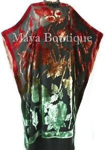 Caftan-Dress-Kimono-Silk-Burnout-Velvet-MAYA-Dyed-Stained-Glass-Copper-amp-Green