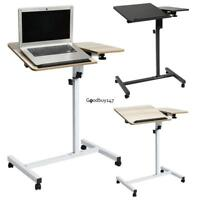 Folding Mobile Rolling Laptop Cart Table Bed Sofa Desk TV Food Tray Hospital US