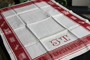 Leinen-Fenstertuch-rote-Motiv-Webkante-Ubergroesse-um-1900-Antique-Linen-Towel