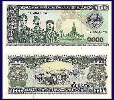 Laos P32Aa,or b 1000 Kip, 3 women / cattle grazing, electrical  tower see UV UNC