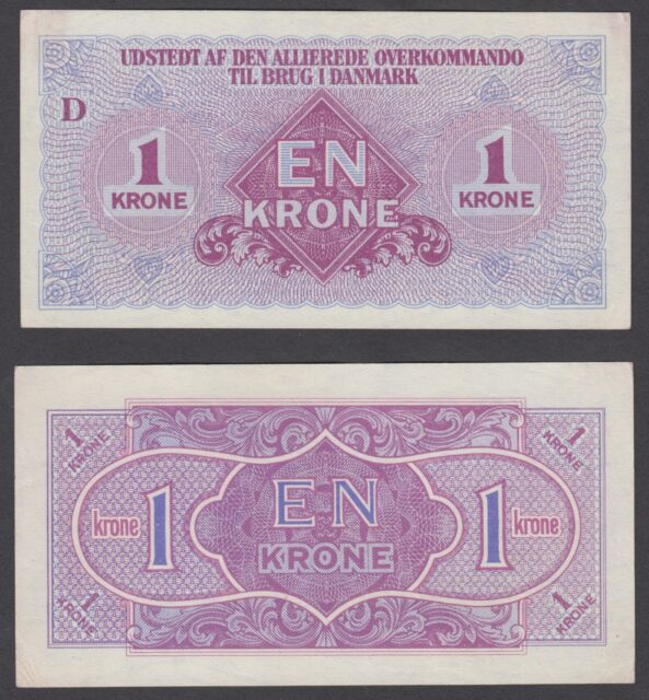 Denmark 1 Krone ND 1945 (aXF-XF) Condition Banknote P-M2 AMC