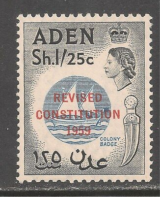 1959 1sh25c Colony Badge Revised Constitution Cheap Sale Aden #64 Vf Mint Lh a10