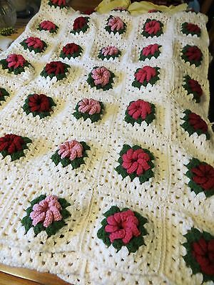 Hand Crochet Afghan Blanket Ivory with Red, Pink Roses