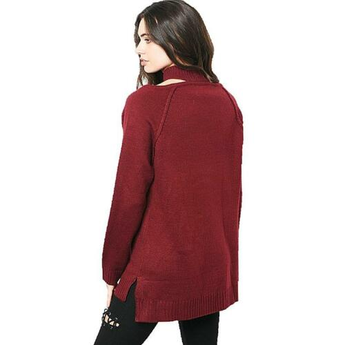 2 of 11 Haute BOHO Wine Goth Oversized Ribbed Cut-out Collar Tunic Sweater  Top S M L XL 6b3987439