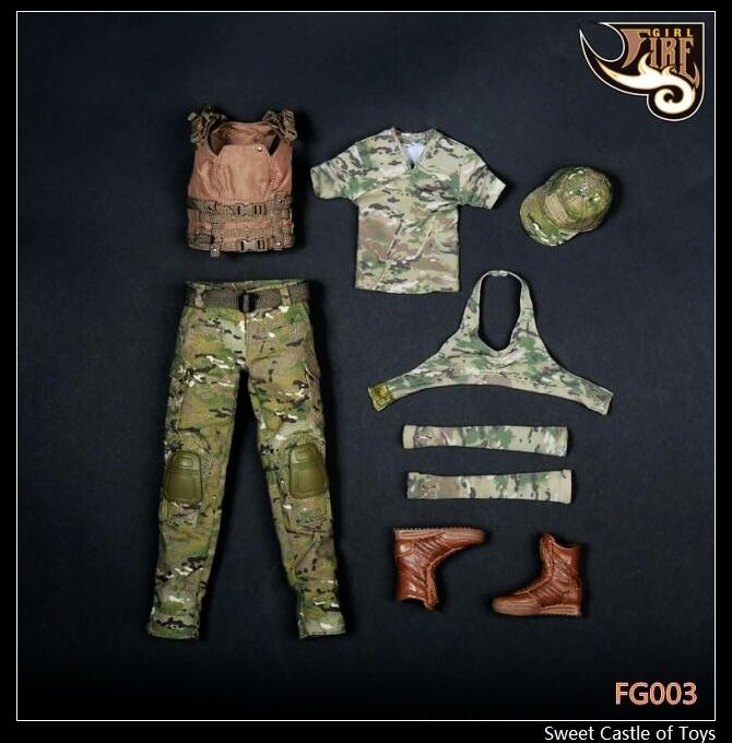 1 6 Fire Girl Toys Accessory FG003 or FG004 Female Tactical Shooter Uniform Set