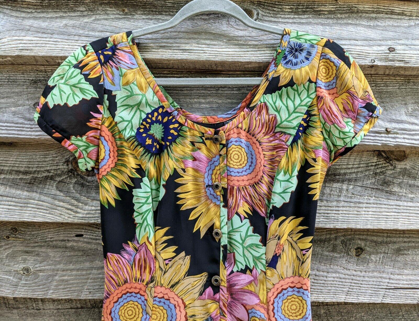 Vtg 90's Midi Dress Sunflowers RARE! Sundress Flo… - image 5