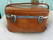 Vintage Train Case Cosmetic Makeup Travel Leatherette Honey Brown w/Tray/Strap!