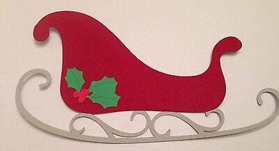 """Christmas Santa's Sleigh Die Cut Punchie Cardstock 6 1/4"""" Handmade"""