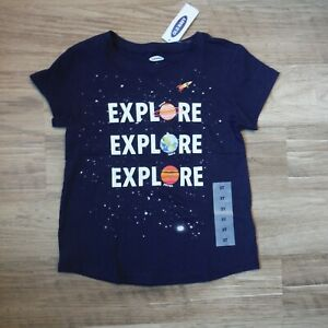 Girls-Blue-Explore-stars-Planets-Tee-shirt-short-sleeve-size-3T-Old-Navy-NEW