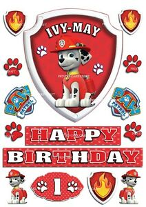 Image Is Loading EDIBLE PERSONALISED PAW PATROL BADGE MARSHALL ICING CAKE