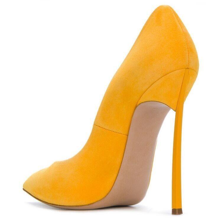 Decolte kim giallo kardashian 12 cm stiletto alti curvato eleganti giallo kim simil pelle 156e7e