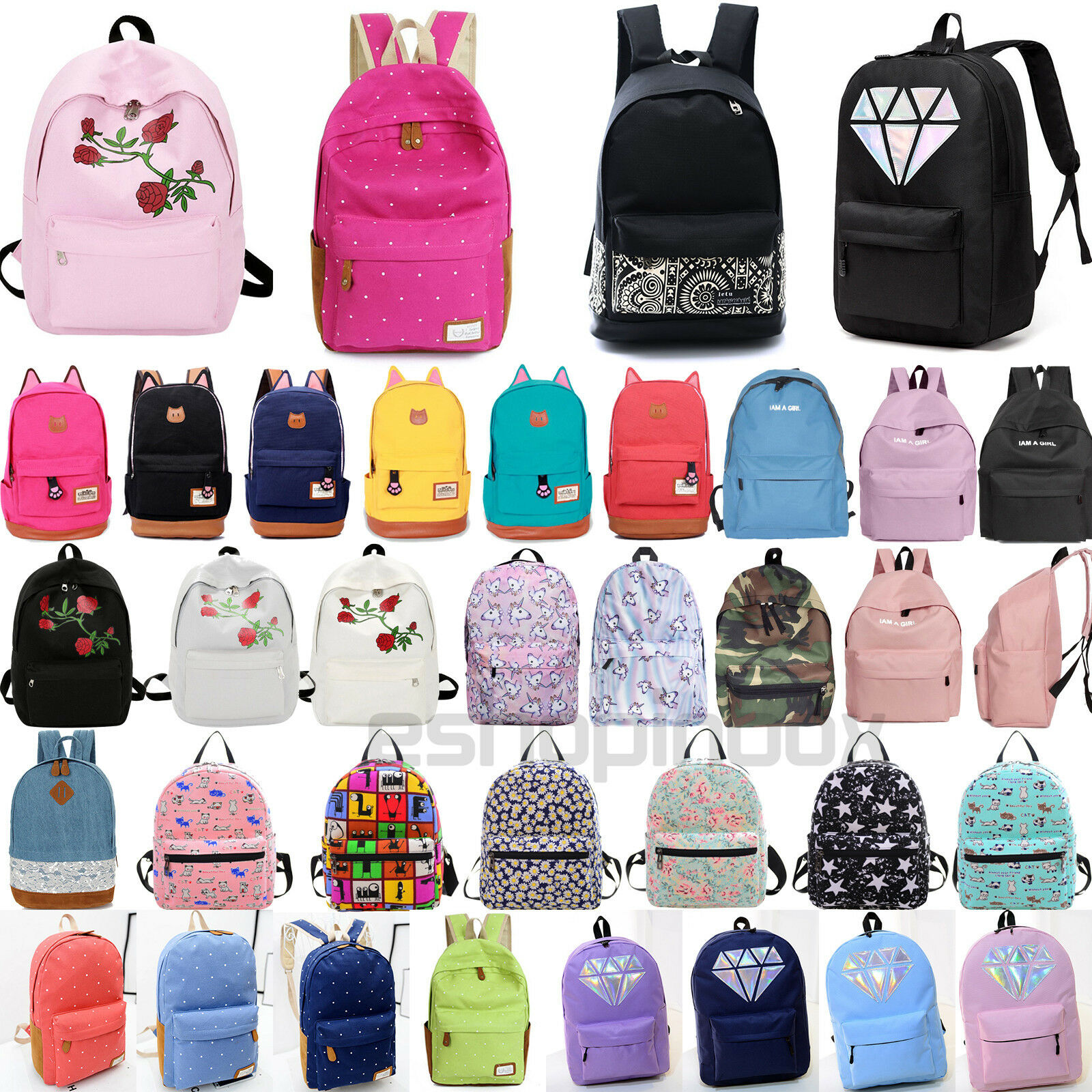 Womens Girls Canvas School Backpack Shoulder Book Bags Travel College ... - s l1600