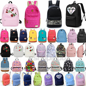 22d66dffaf Image is loading Womens-Girls-Canvas-School-Backpack-Double-Shoulder-Bags-