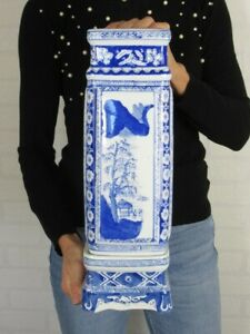 Jar A Square Section with Base Porcelain Chinese Decoration Blue End Xx Century