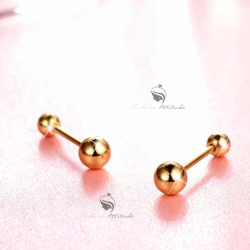 silver gold earrings stainless steel simple ball stud screw on 4mm