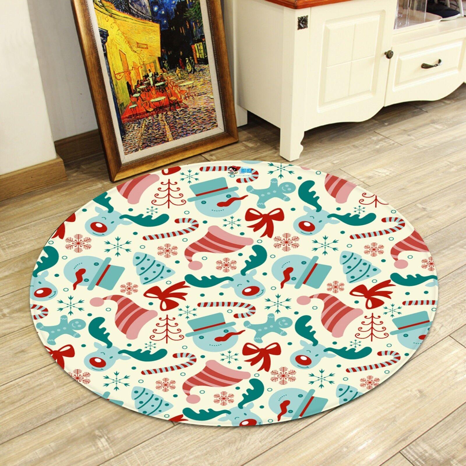 3d navidad Xmas 890 antideslizante alfombra maletero rondas elegante alfombra de