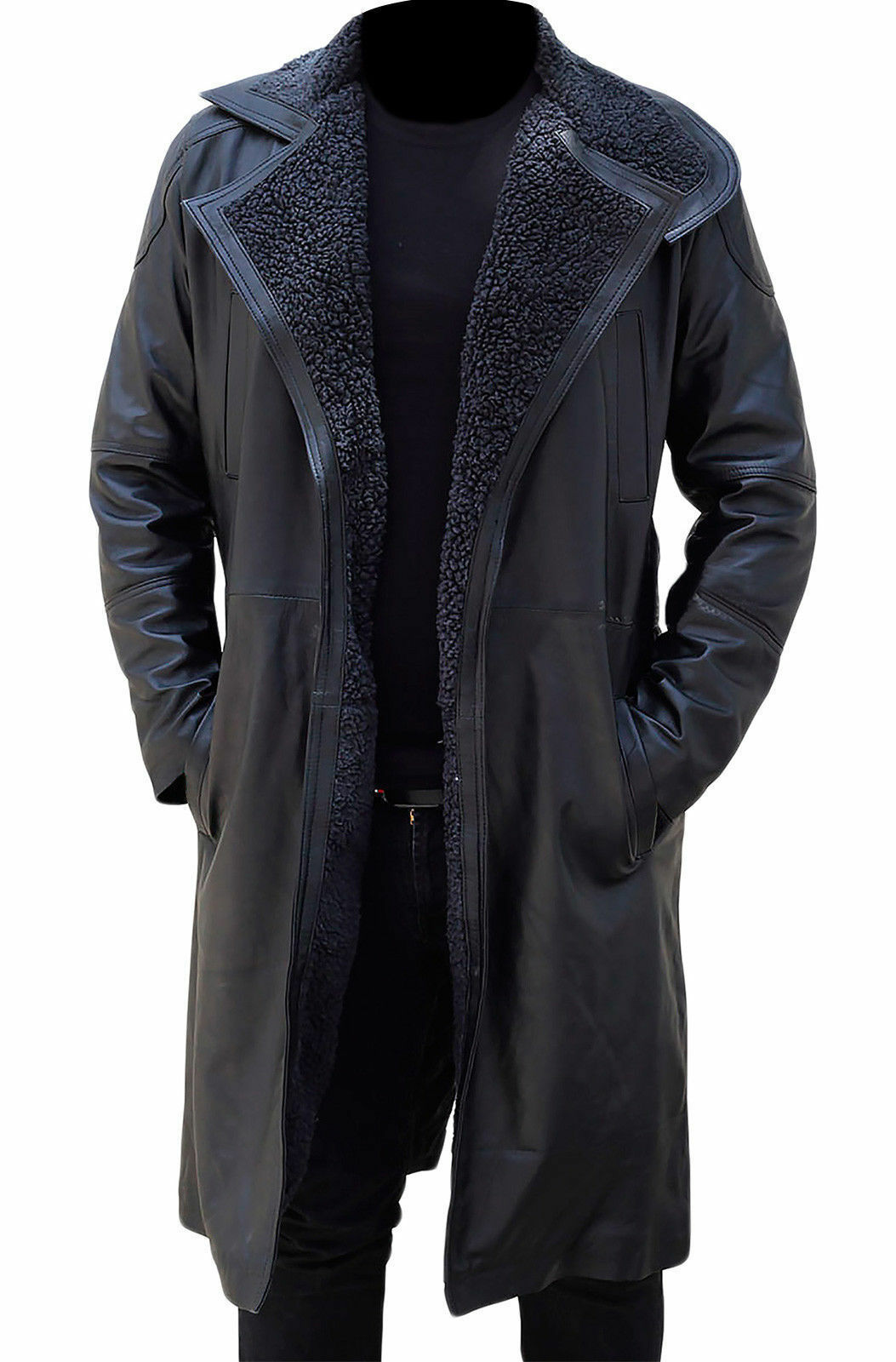 Blade Runner Ryan Gosling Officer K Fur Lapel Collar Trench Leder Coat