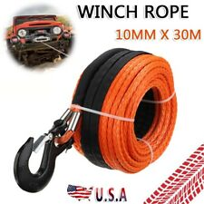 38 X 100ft Winch Rope Synthetic Line Orange Recovery Cable 4wd Atv Suv Us