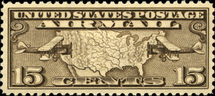 1926 15c Map of United States & Two Mail Planes Scott C