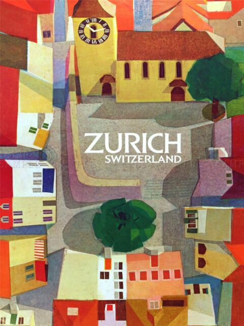 TRAVEL ZURICH SWITZERLAND COLOURFUL FUNKY ART PRINT POSTER BB10118