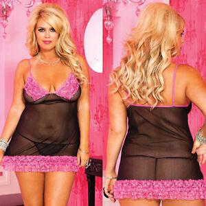Plus-Size-Lingerie-Queen-fit-XL-1X-2X-Black-amp-Pink-Chemise-Mini-Dress-ML56133Q