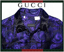 Genuine GUCCI Black & Purple Paisley Italy Silk Men's L 43/17 Tom Ford Era $1100