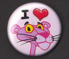I LOVE (heart)  PINK PANTHER  Badge Button Pin - COOL !