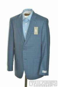 NWT - HART SCHAFFNER MARX Blue Plaid 100% Wool Blazer Sport Coat Jacket - 38 R