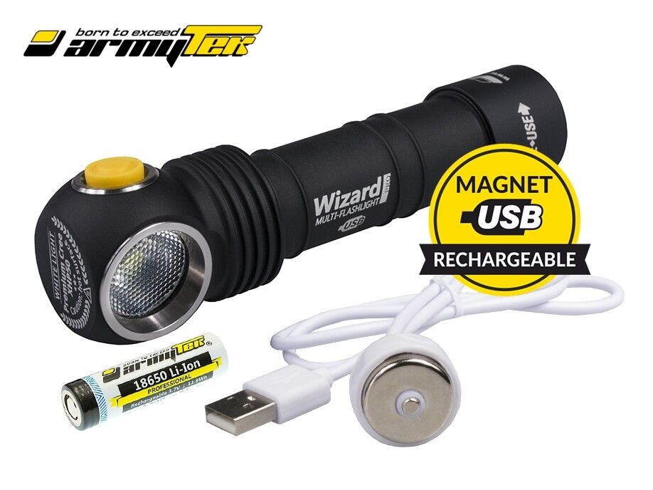 New Armytek Wizard Magnet USB v3 Cree XP-L 1120 Lumens LED Headlight With 18650