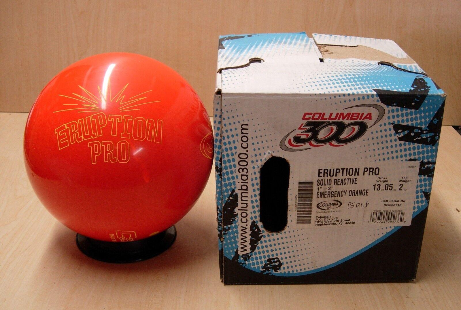 13oz, TW 2, Pin 1-2, NIB Columbia ERUPTION PRO Bowling Ball Emergency orange
