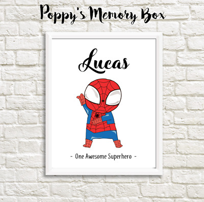 Personalised Boys Superhero Nursery New Baby The Flash Birthday Gift Print