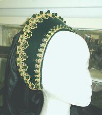 Green Velvet Tudor Renaissance French Hood Headpiece Hat  4 Dress Gown Necklace