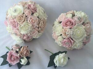 Bouquet Sposa Rose Rosa.Nozze Fiori Avorio Rose Bouquet Sposa Damigella Fiore Ragazza