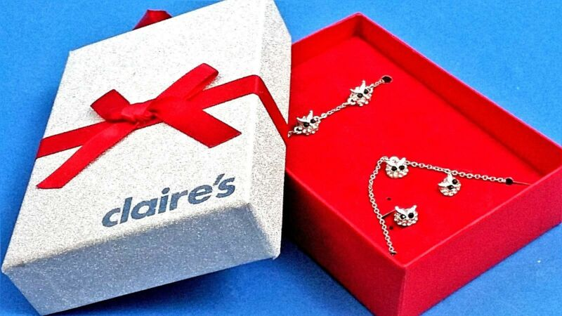 Lovely Owl Necklace And Earring Set Claire's Red Boxed Bow Silver Chain Pendant