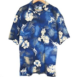 Afico-Bluewater-Hawaiian-Mens-Button-Shirt-Size-L-Blue-Marlin-Floral-Made-In-USA