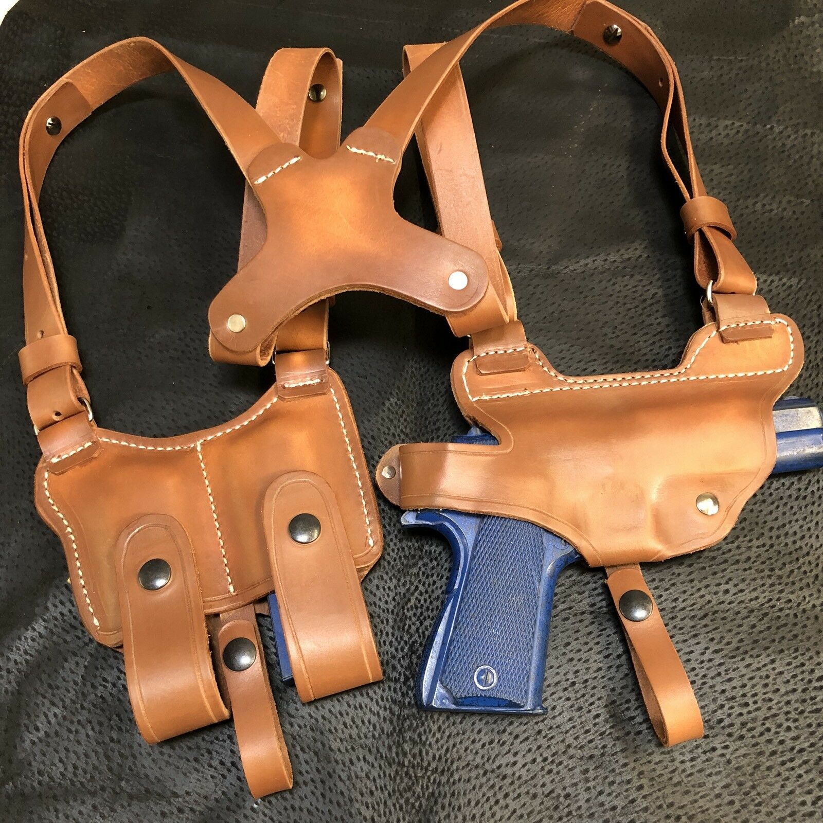 Se adapta a Colt Kimber 45 1911 Funda de hombro de cuero bolsa del Mag horizontal