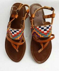 4755e34bb4c Image is loading Mossimo-Womens-Aztec-Sandal-Brown-Multicolor-Cognac-Sonora-