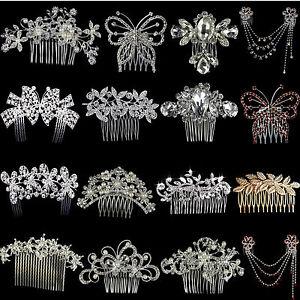 Silver-Bridal-Wedding-Flower-Crystal-Diamante-Hair-Comb-Clip-Slide-Fascinator-UK