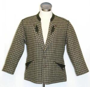 WOOL-Plaid-Tweed-JACKET-German-Hunting-Western-Riding-SHORT-SLEEVES-Coat-44-034