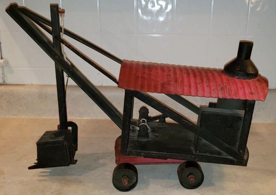 1920s Original Buddy L Pesado pala de vapor de acero prensado (Negro y Rojo)
